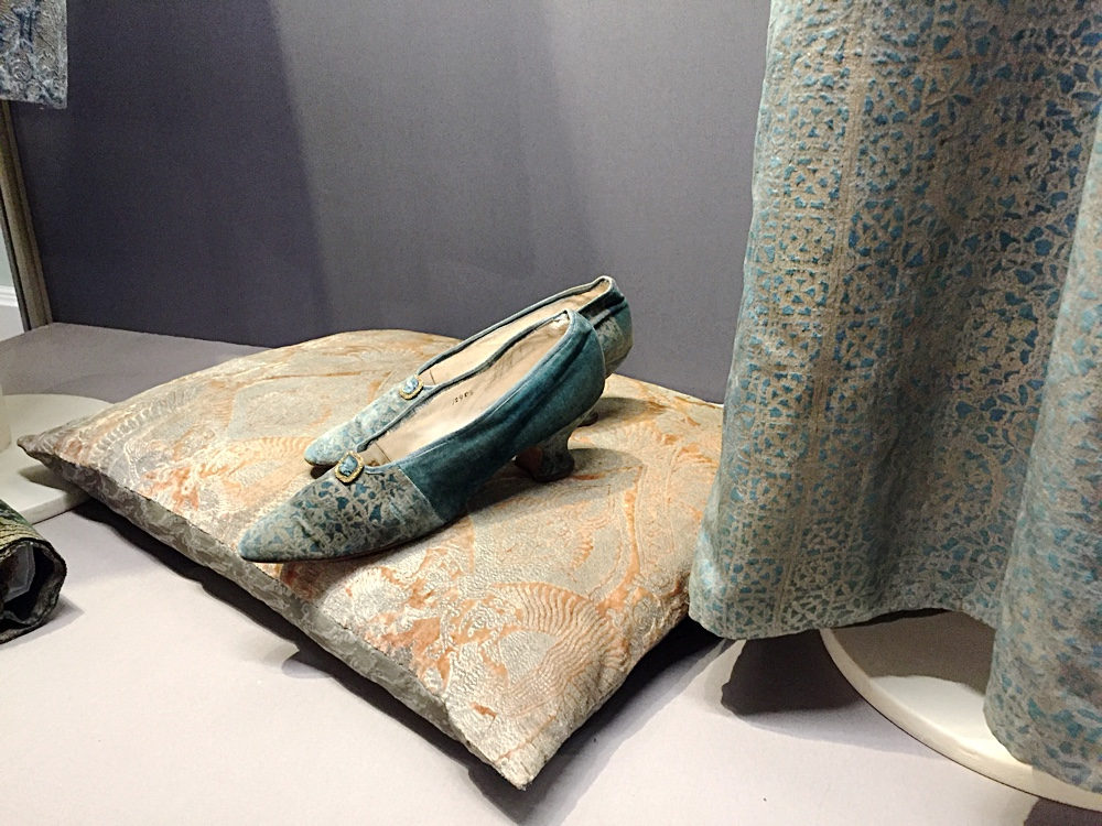 Fortuny fabric shoes made by W.H. Smith to complement the dress.